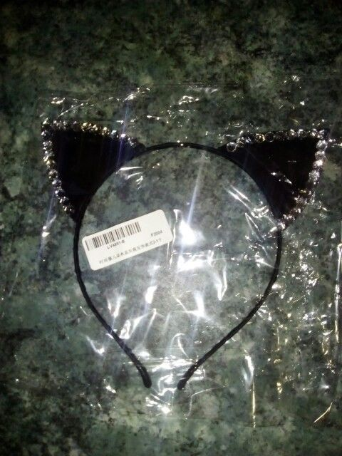 Women Cat Ears Cute Hairband Headband Faux Rhinestones Girls Hair Accessories
