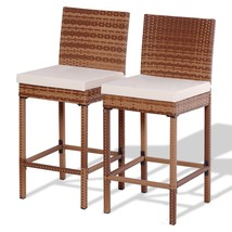 Set of 2 Patio Rattan Bar Stool Chair - $154.53