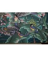 Framed Huge Original Canvas Signed Hand painted Art kingfishers Jungle D... - $569.99