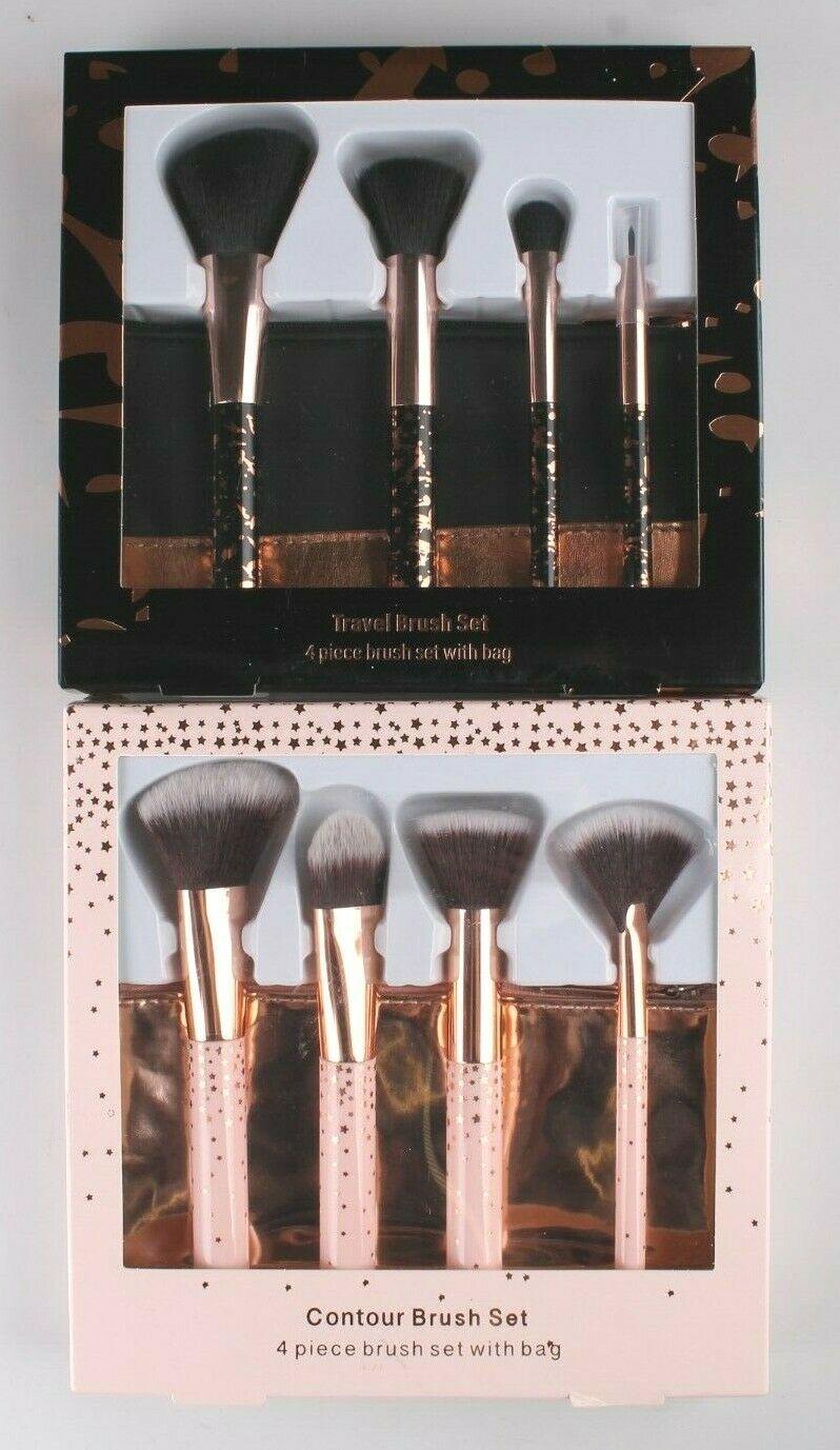 New 10 pc. Cosmetic Travel + Contour Foundation Brush Set With Bonus Bags