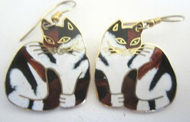 Vintage Black Brown and White Cat Enamel Pierced Earrings signed MEOW - $11.83