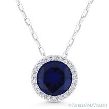1.87ct Blue Lab-Sapphire & Diamond Halo 14k White Gold Pendant & Chain Necklace - $326.69