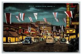 Vintage 1930's Postcard Main Street Antique Cars Signs Klamath Falls Oregon - $15.02