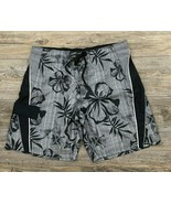 OP~Ocean Pacific Swim Trunks 2XL Bathing Suit Black/Grey Hawaiian Floral... - £10.82 GBP