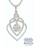 Solid 14K White Gold 0.59CT Real Natural Cluster Diamond Designer Fine P... - $2,357.19