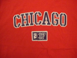 Chicago Illinois USA City Vacation Red T Shirt L - $17.17
