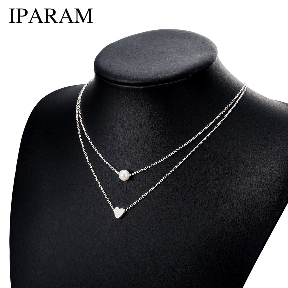 Primary image for IPARAM Bohemia Simple fashion Imitation pearl love Heart Double layer Clavicle c