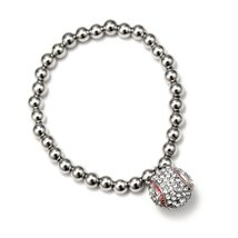 Inspired Silver Petite Pave Baseball Themed Shiny Silver Plated Stretch ... - $393,54 MXN