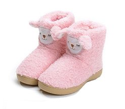 PANDA SUPERSTORE Cute Pink Alpaca Shoes Slippers for Women, US 6.5-7