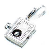 Sterling 925 Silver Bookworm Opening Book Clip On Pendant Charm by Welded Bliss - $20.97