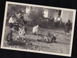 Vintage Antique Photograph People Having Picnic Eating Laying Sitting on... - $5.94