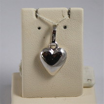 18K WHITE GOLD PENDANT, 0,75 Inches, STYLIZED ROUNDED HEART, MADE IN ITALY image 1