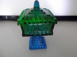 Vintage Blue and Green Pedestal Candy Dish, Jea... - $14.85