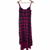 Torrid 1 Plaid Challis Hi Lo Dress Size 1X 14/16 Dark Fuschia Black Slee... - $39.59
