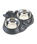 Cat Food Bowls Set, Kitty Iron Holder Stainless Steel Cute Cat Food Bowl... - $41.99