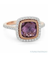 2.69ct Amethyst Gem & Diamond Pave Halo Right-Hand Ring in 14k Rose & Wh... - $881.09