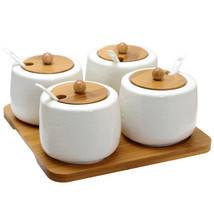 Elama Ceramic Spice, Jam and Salsa Jars with Bamboo Lids & Serving Spoons - $39.66