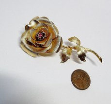 Professionally Cleaned Gold Vermeil Sterling Silver VENDOME Rose Flowr S... - $32.62