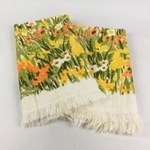 """VTG Set 2 Hand Towels 24"""" Bucilla Floral Multicolor Mid Century Mod Retr... - $19.70"""