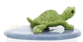 Hagen-Renaker Miniature Ceramic Turtle Figurine Green Mama Turtle on Pond image 3