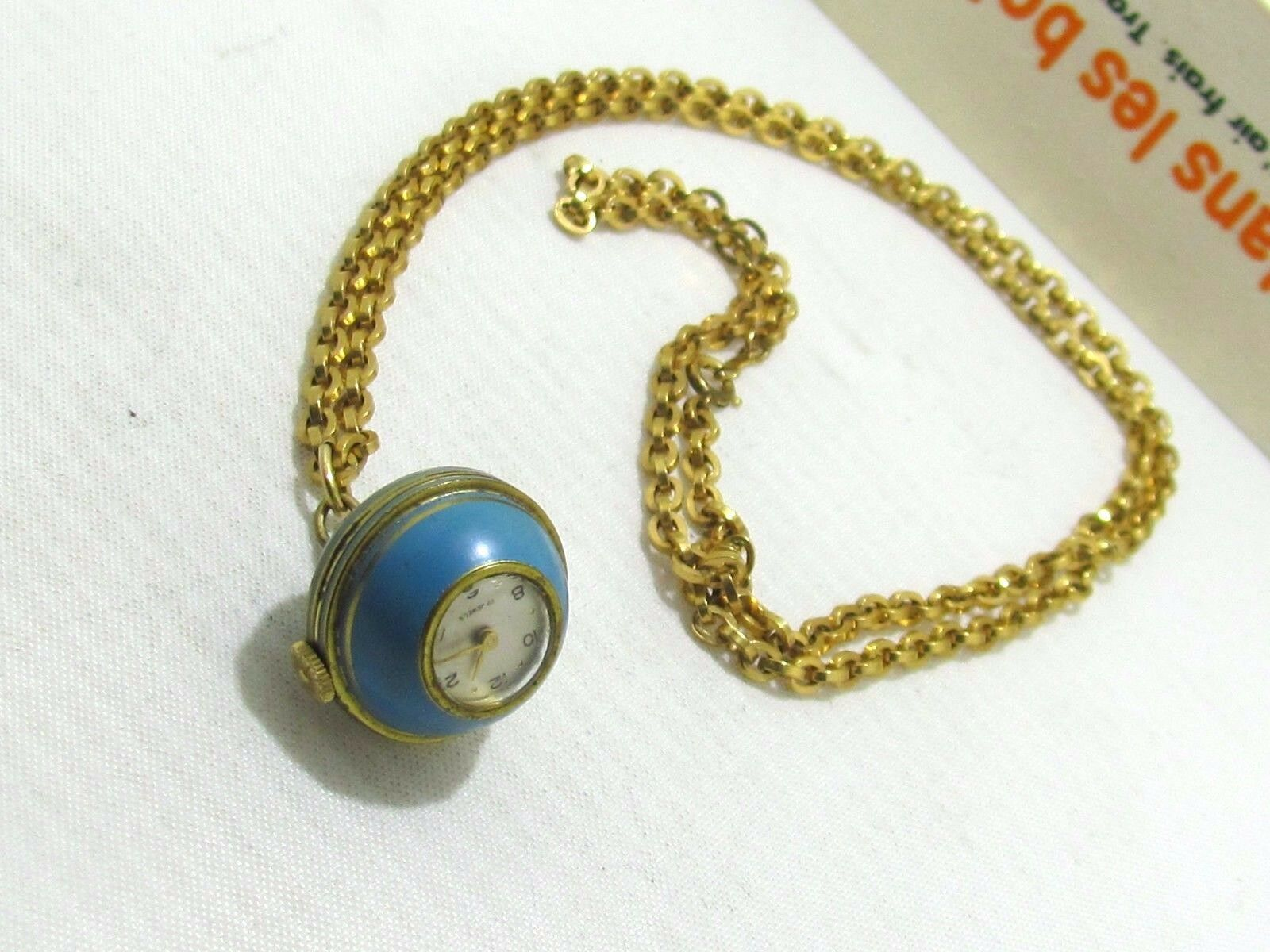 ATLANTA VINTAGE EARLY CENTURY PENDANT WATCH SWISS MADE ENAMEL & METAL GOLD TONE