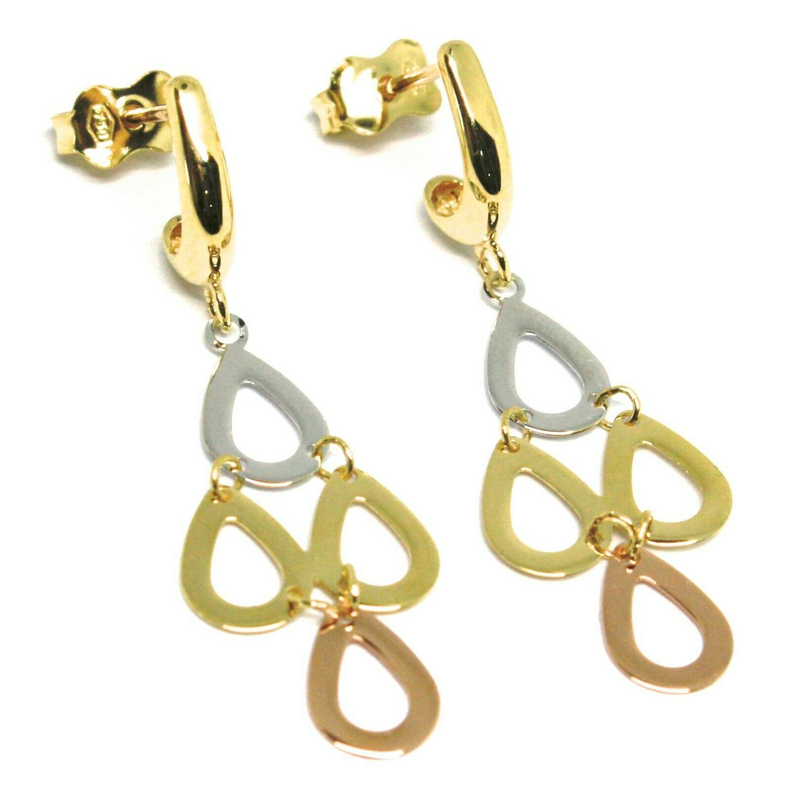 18K YELLOW WHITE ROSE GOLD PENDANT EARRINGS, FLAT DROPS, 1.4 INCHES