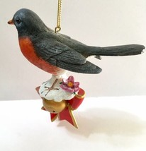 Danbury Mint Robin Songbird Christmas Tree Ornament Bird Figurine Gold Tag - $24.74