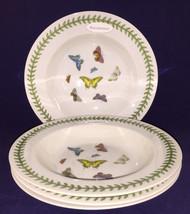 "4 Portmeirion Studio Botanic Butterfly Rimmed Soup Pasta Bowls 8.5"" Butt... - $47.24"