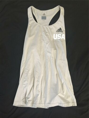 Adidas USA Women Ladies Tennis Tank Top Gray Climalite Small Running Yoga B