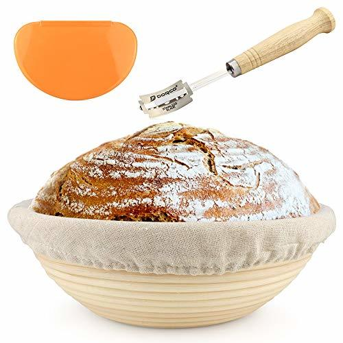 10 inch Banneton - Bread Proofing Basket - with Cloth Liner, Wooden Bread Lame,