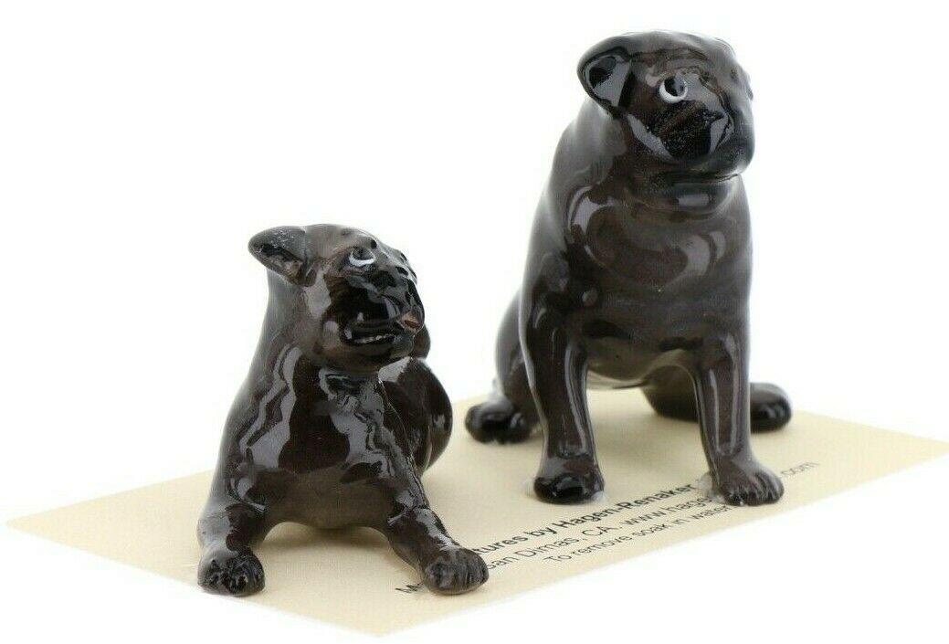 Hagen Renaker Dogs Pug Mama and Baby Black Ceramic Figurine