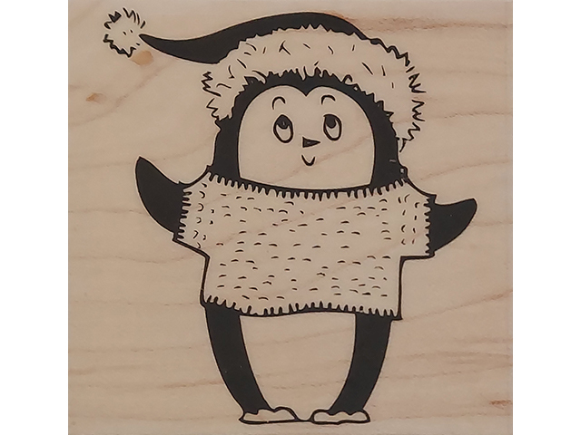 Hero Arts 2009 Christmas Penguin Wood Mounted Rubber Stamp #F5266