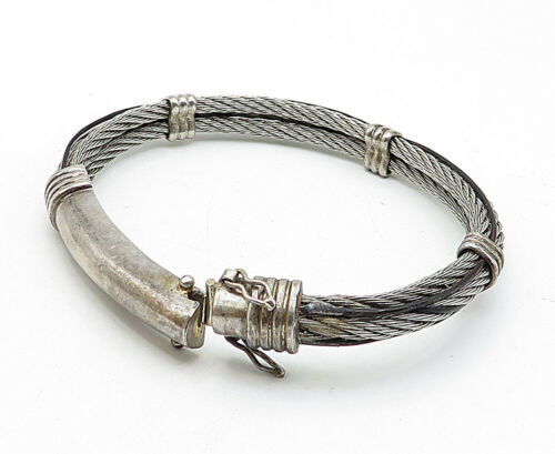 925 Sterling Silver - Vintage Rope Twist Designed Bangle Bracelet - B5640
