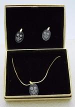 Vintage MIA Clear Intaglio Reverse Cut Glass Flower Necklace Earring Set - $29.70