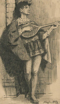 Stanley Ashton - Signed Early 20th Century Pen and Ink Drawing, The Lute... - $51.95