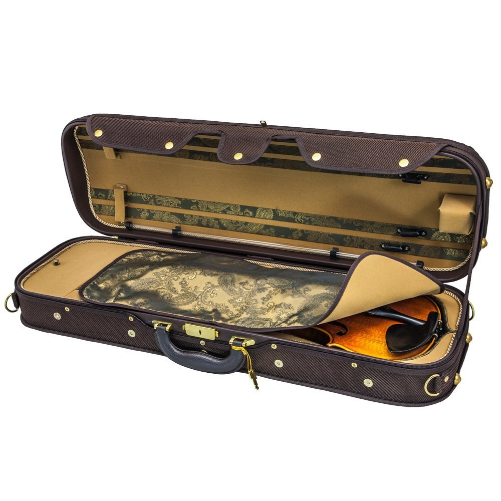 Sky Violin Oblong Case VNCW05 Solid Wood with Hygrometers Coffee/Khaki