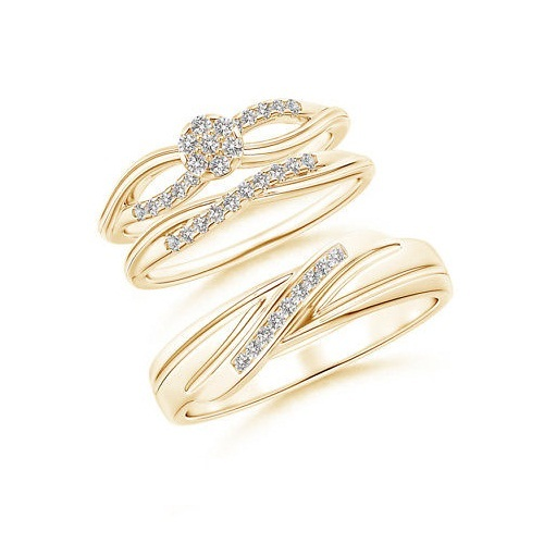 Diamond wedding bands engagement ring trio set for