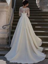 New Arrival V Neck Long Lace Sleeve Empire Waist  Bridal Wedding Gown image 2