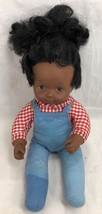 "Ideal Toy Baby Doll  14"" Black African American Vtg 1977 Overalls Checke... - $19.79"
