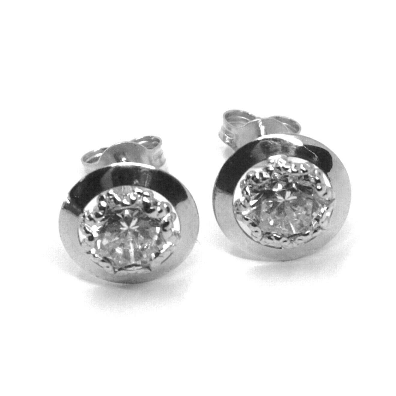 18K WHITE GOLD BUTTON EARRINGS CUBIC ZIRCONIA, ROUND DISC WORKED FRAME, 10 MM