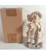 "NEW IVORY COLORED FAIRY WITH FLOWER BASKET EASTER SPRING FIGURINE 8"" TAL... - $9.95"