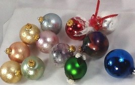 mixed lot 12 Christmas ornaments 6 flocked pastel hand blown glass craft... - $14.84