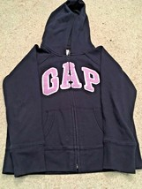 Girl's Gap Kids Zippered Hooded Navy Sweatshirt/Jacket With Lavender Log... - $9.50