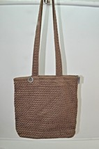 The Sak Tote Bag Shopper Purse Knit Crochet Tan Khaki - $9.49