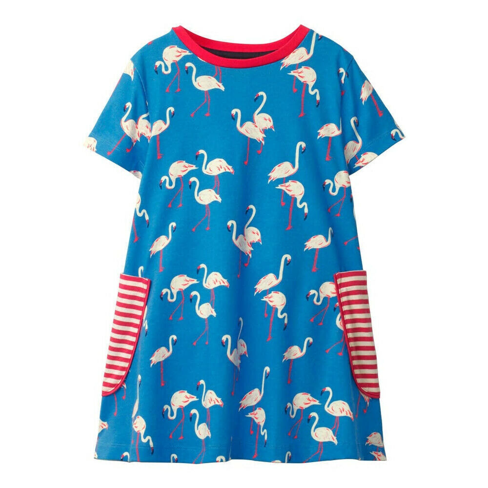 Primary image for NEW Flamingo Girls Blue Short Sleeve Shift Dress 3T 4T 5T 6 7
