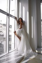 Glitter Shiny Lace Sexy Illusion Deep V-neck Sleeveless A-line Beach Bridal Gown image 2