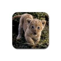Beautiful Animal Lion Baby (Square) Rubber Coaster - $1.99
