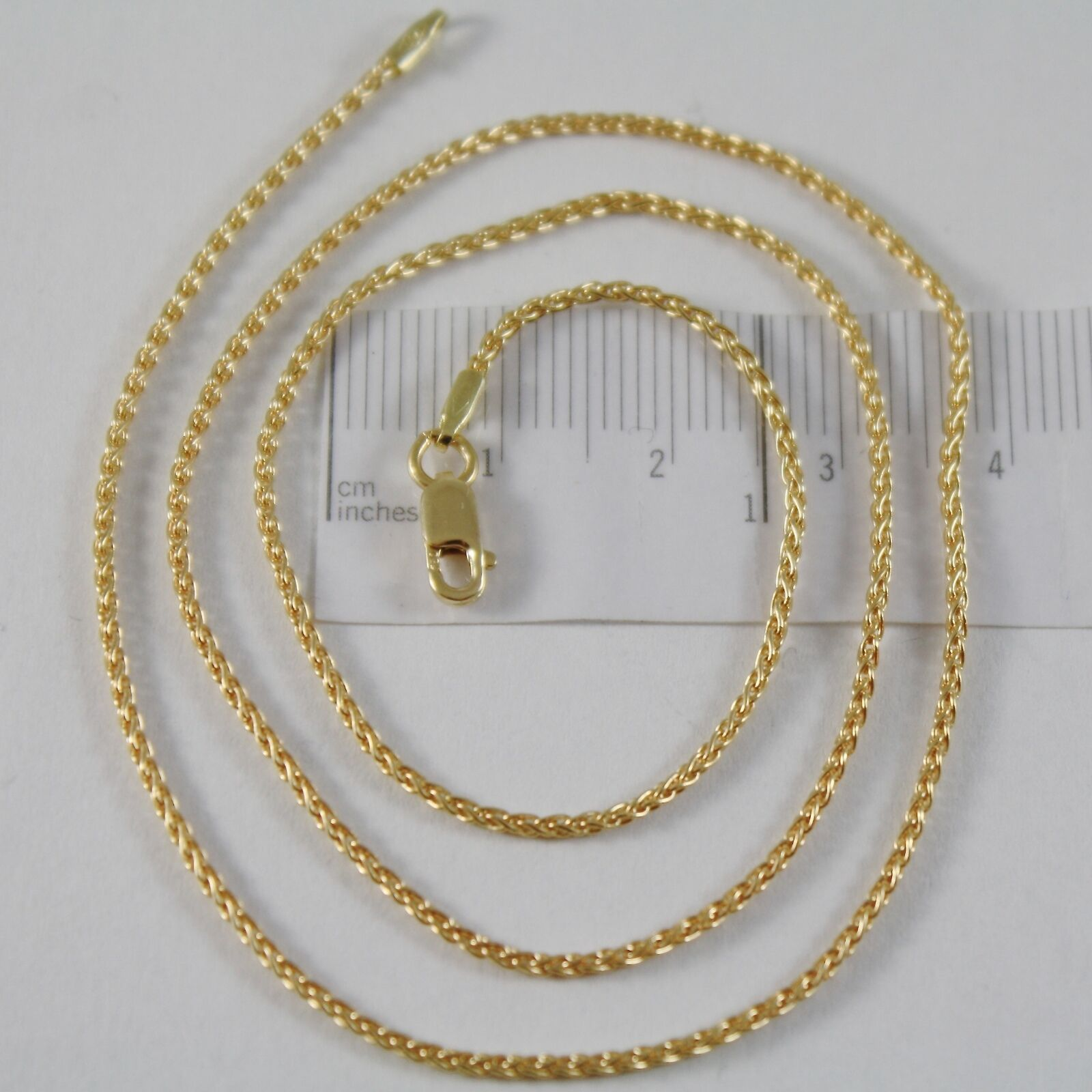 SOLID 18K YELLOW GOLD SPIGA WHEAT EAR CHAIN 16 INCHES, 1.5 MM, MADE IN ITALY