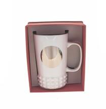 Starbucks White Silver Studded Ceramic Cuff Siren Mug Relief Cup Handle 16oz DOT - $48.50