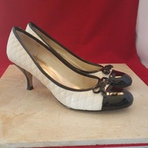 Nine West Cream & Black Quilted Bow Pumps Size 6 - $19.99